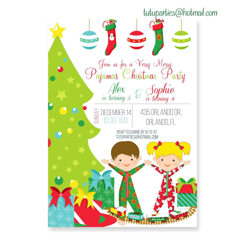 Christmas Party Invites: Christmas Pajama Party Invitation Pajamas And By Ohtutuparty