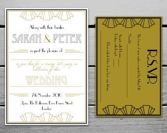 Printable Great Gatsby 1920s Wedding Invitation and RSVP Card