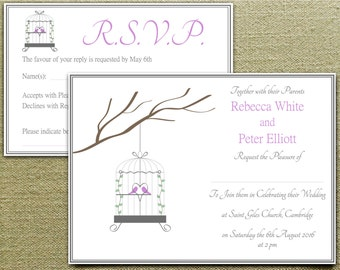 Printable Wedding Invitation Set: Love Birds in Birdcage Invite with RSVP Card