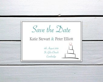Printable Save the Date Wedding Cake Sketch