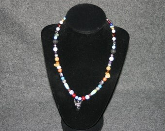 Beaded Necklace with Angel Pendant