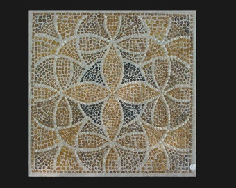 Natural Midewest Stone Pebbles in a Geometric Pattern form a Smooth Surface for Tabletop? Mural?