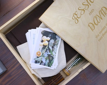 12x12 Wooden Photo Album Box, Wedding Album, Personalized Wooden Box
