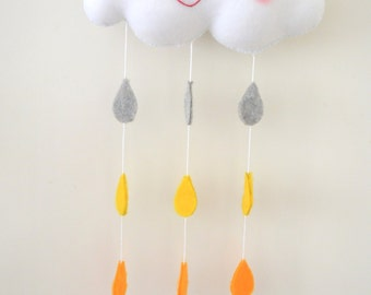 Yellow cloud nursery decor/mobile
