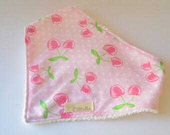Pink cherry bandana bib