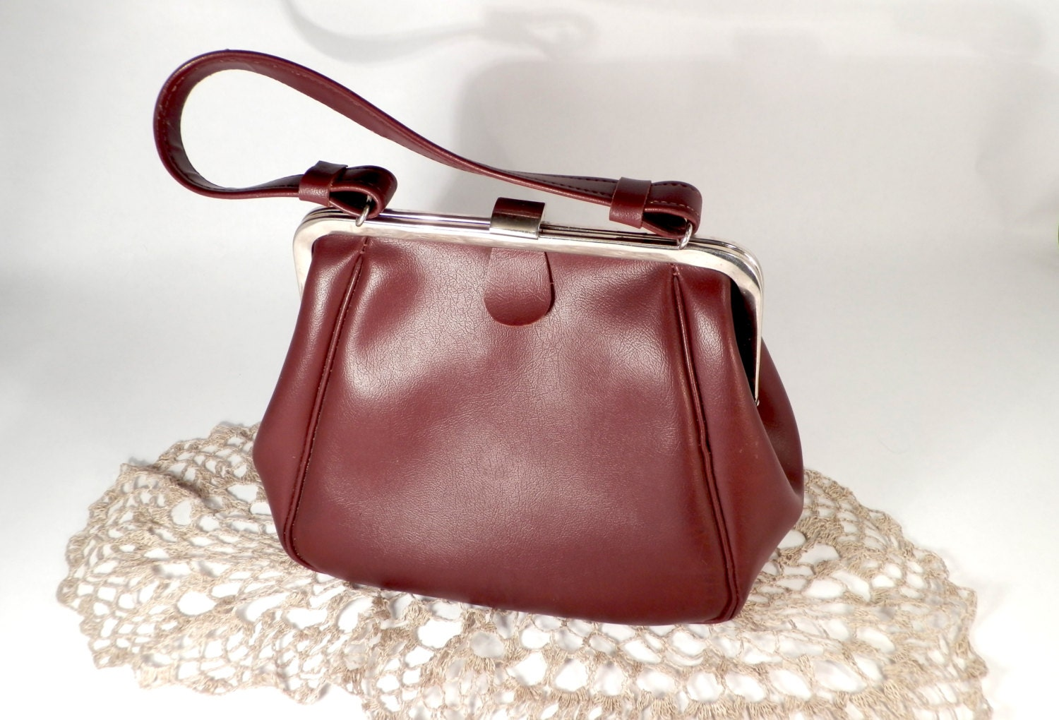 Woman's marsala color clutch bag USSR Elegant everyday