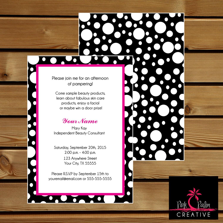 mary kay skin class party invitation 7 x 5, Party invitations