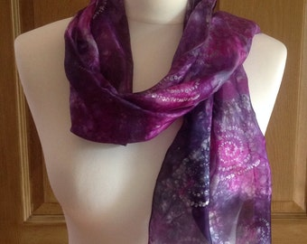 Hand-dyed and block printed silk scarf