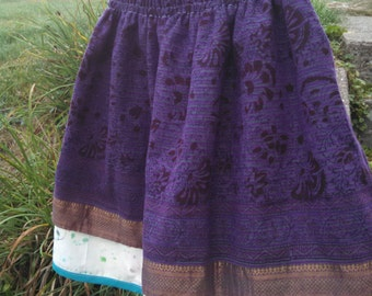 Everyday Princess paper bag skirt, girls size 5T, made from a recycled sari