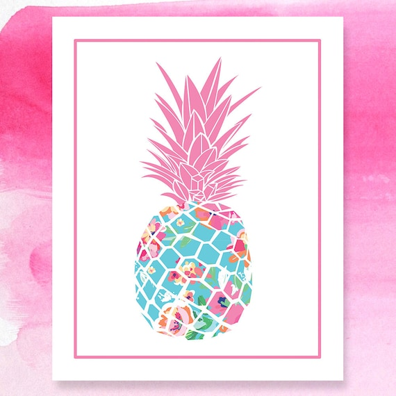lilly pulitzer inspired pineapple print preppy pineapple. Black Bedroom Furniture Sets. Home Design Ideas