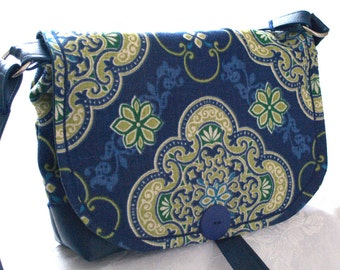 ROYALTY BLUE on GOLD/cross body/ messenger bag with blue leather