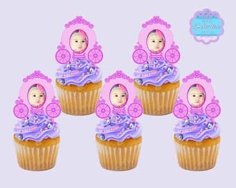 Princess Carriage PHOTO Cupcake Toppers, Cupcake Picks