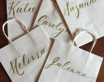 Bridesmaid Gift Bag, Personalized, Hand-lettered- customized,elegant, simple, gold, kraft, party bag
