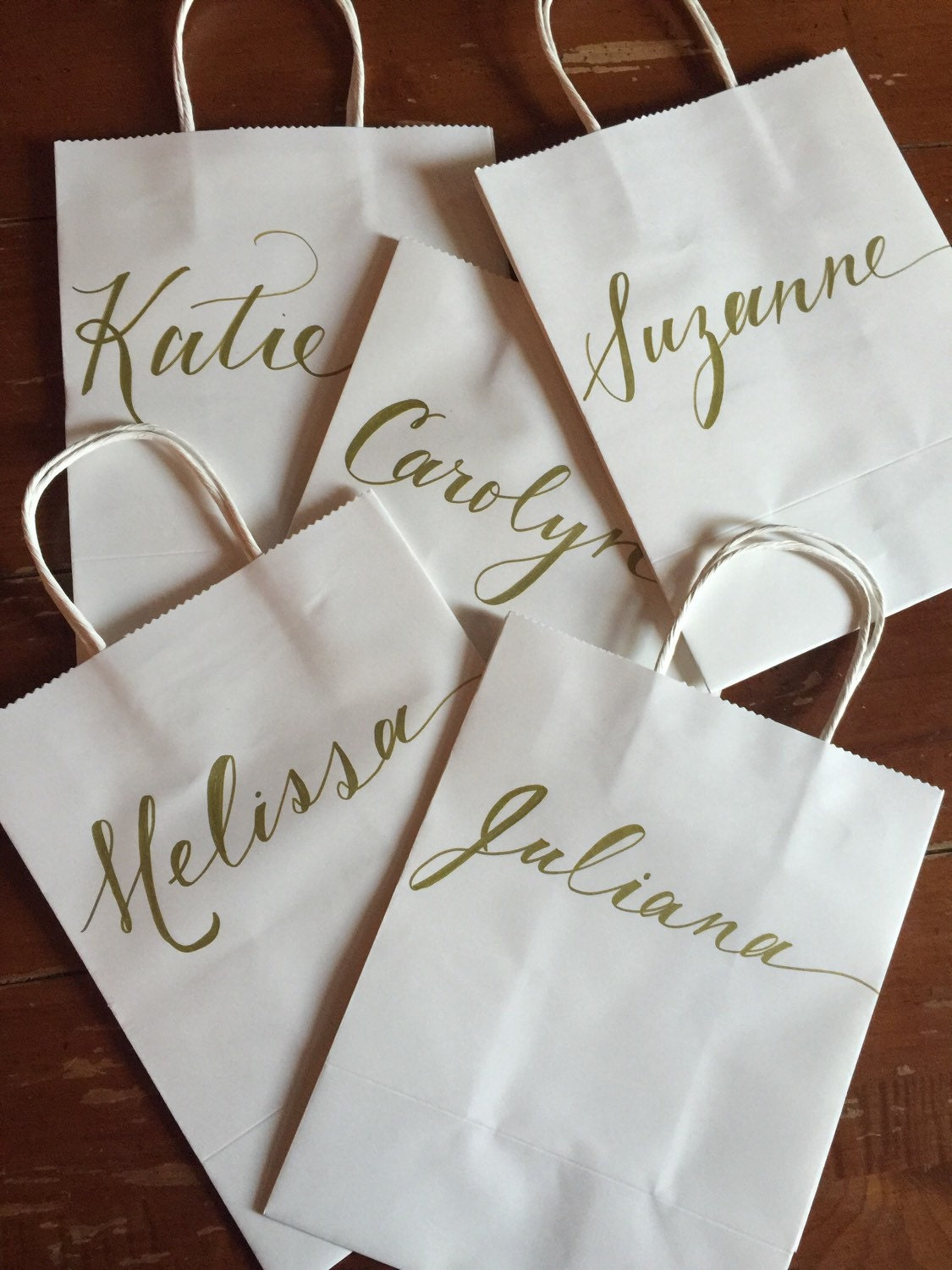 Personalized Gift Bag Gold White Hand-lettered Customized