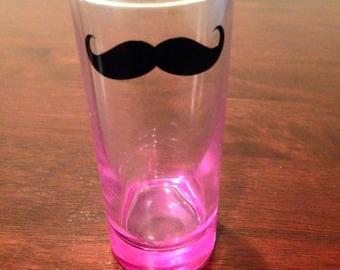 Mustache shot glass- pink shot glass, mustache glass, birthday gift bachelorette party 21st birthday mustache party wedding party shot glass