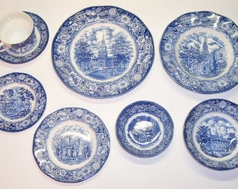 Vintage Enoch Wedgewood, Staffordshire Liberty Blue China, 8 piece Setting.