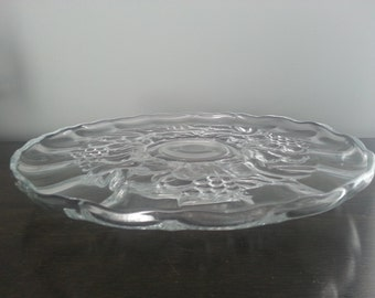 Clear Glass Fruit Pattern Cake Stand Plate Pedestal ~ Wedding Decor