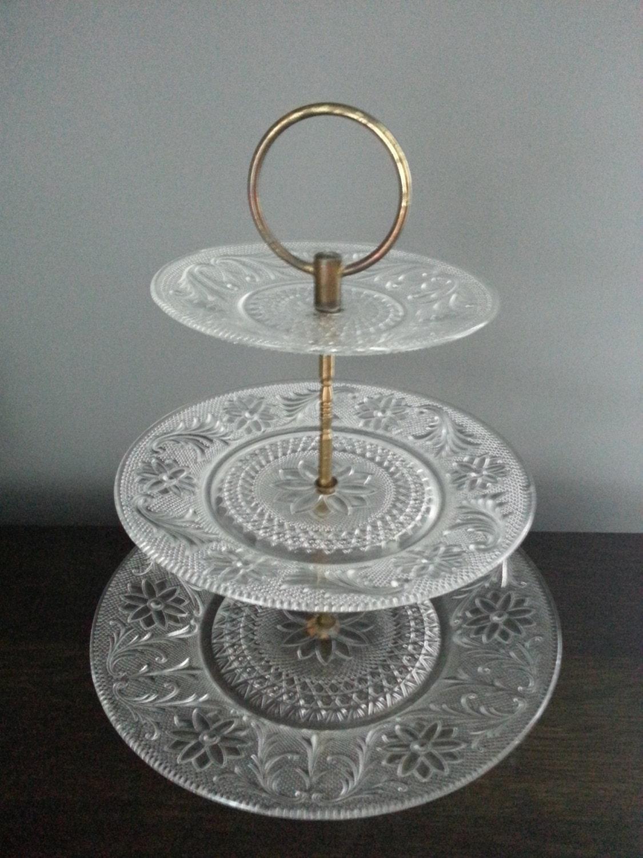 vintage 3 tier glass serving tidbit tray wedding serving. Black Bedroom Furniture Sets. Home Design Ideas