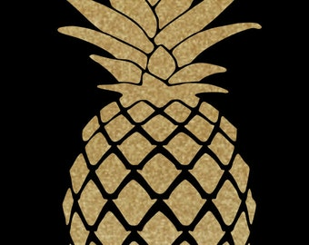 Pineapple Decal created in Gold Glitter Vinyl!  Choice of Sizes, Perfect for Wall Decor or Accenting! Universal Sign of Welcome!