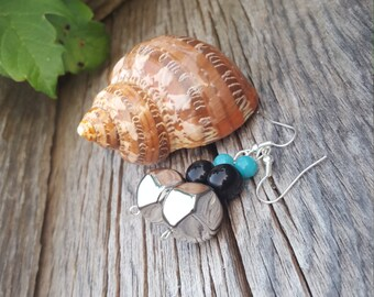 Light Blue, Black and Silver Beaded Dangle Earrings