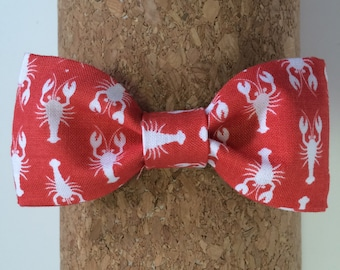 Red Bow Tie Crawfish Bow Tie Baby Boy Bow Tie Toddler Bow Tie Infant Bow Tie Adjustable Bow Tie Handmade Bow Tie Bowtie