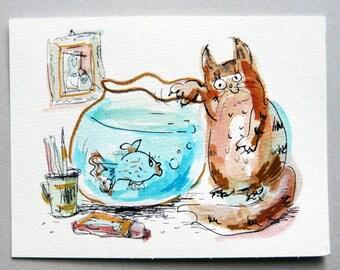 Cat Original pen Illustration, Animal watercolor miniature painting, Kids Funny Illustration, Nursery Wall Decor Art,Children Drawing, Gift