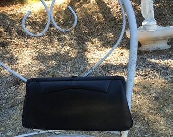 Vintage 1960's Black Clutch Handbag