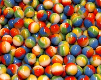 25 New Hard To Find Multi-Color Rainbow Marbles, also know as Beach Balls. Great For Decorating, Crafts, Games And Collecting.
