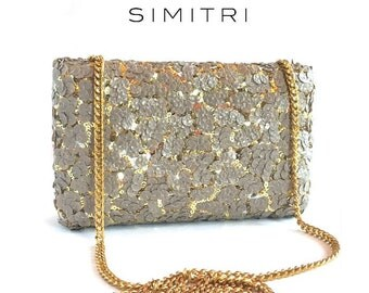 Grey & Gold Sequin Clutch Bag