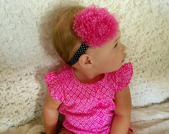 Large Pink and White Polka Dot Headband, Pink Headband, Flower Headband, Toddler Headband