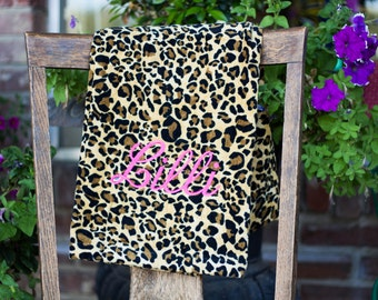 Personalized Leopard Towel