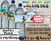 Mickey Mouse Clubhouse Water Bottle Peel and Stick Labels for Mickey Birthday Party - Personalized Water Bottle Label -  A002