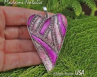Pink Rhinestone Enamel Heart Pendant, Big Heart Pendant, Long Sweater Heart Necklace Pendant, Heart in Shades of Pink