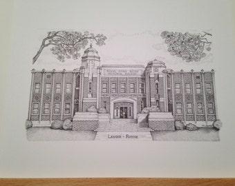 Lenoir-Rhyne 8x10 print of the Rhyne Building