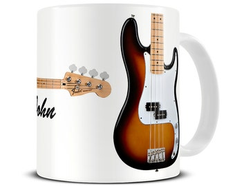 Personalized Precision Bass Guitar Coffee Mug - gift for dad - father's day gift - bass guitar mug - MG217