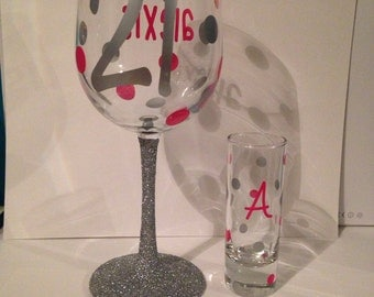 21st Birthday personalized wine glass and shot glass