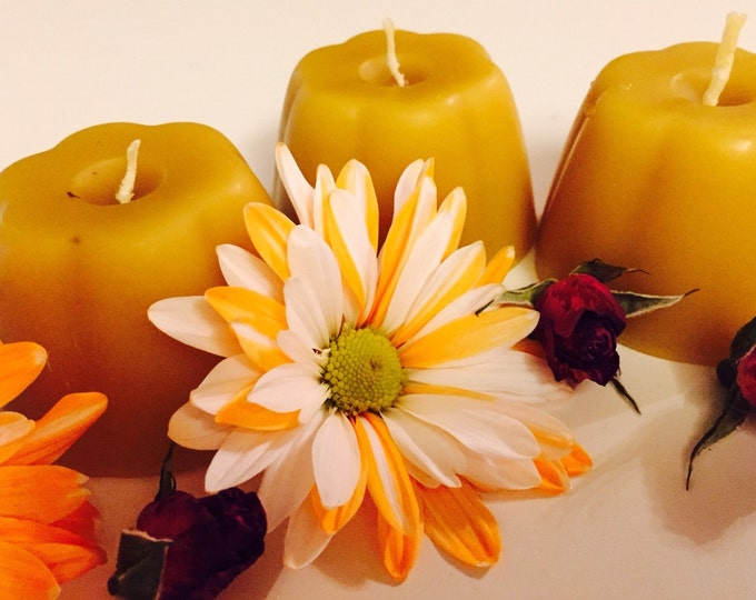 Pure 100% Beeswax candles-beewax candle-set of 3 beeswax candles-3oz votive beeswax candles-candle set