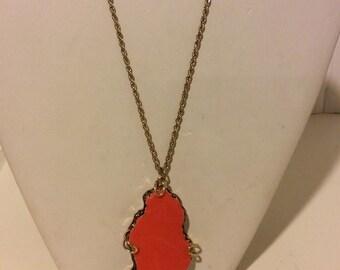 Long orange and gold bedrock necklace