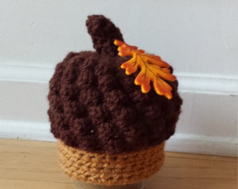newborn acorn hat,  baby fall hat, halloween hat, photography prop,  fall prop, autumn hat