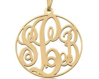 14k Gold Monogram Necklace - Personalized Monogram Necklace Gold Monogram Necklace Circle Monogram Round Monogram Gold Anniversary gifts