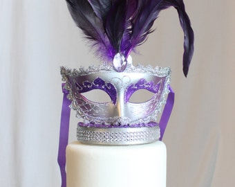 Masquerade, Venetian, Mask Cake Topper Purple and Silver, Glitter, French, Carnival, overthetopcaketopper