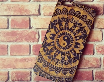 Laser Engraved Leafy Floral Tribal Aztec Mandala Yin Yang Pattern on Genuine Wood Cell phone Case for iPhone 5/S, 6/S and 6 plus IP-032