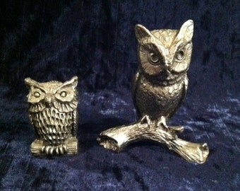Vintage Pewter Owls - Set Of Two