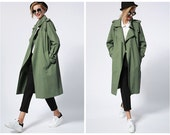 trench coat woman in green,khaki,oversize,long length,rain coat,fashion,chic,casual,for spring and autumn.--E0309