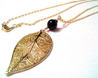 Leaf necklace , gold chain necklace, boho necklace, layering necklace