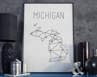 Michigan state art Michigan map Michigan art Michigan wall art Michigan state map USA art Map decor Geometric art Scandinavian style