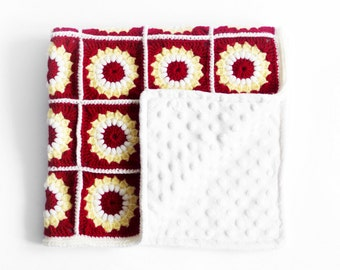 Hand Knit Red Baby Blanket with white minky fleece. Crochet blanket