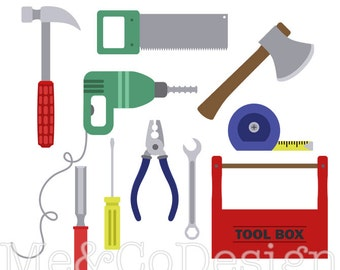 Tools Clipart, Fun Cute Clipart, Red and Green, Handy Man Instant Download, Personal and Commercial Use Clipart, Digital Clip Art