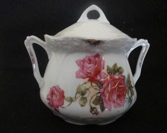 China Lidded Sugar Bowl Rose Design