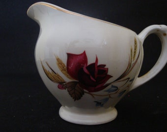 Pottery Milk Jug Red Rose Design